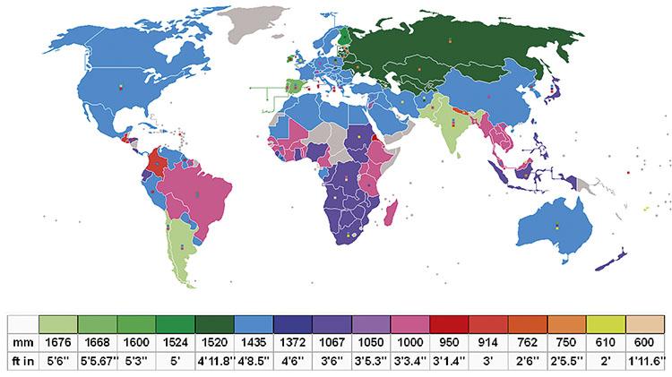 World map, rail gauge by región. / GRAPHIC_WIKIPEDIA