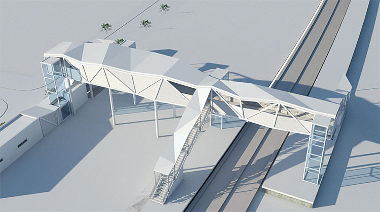 DESIGNED WITH REVIT. The volumetric and structural irregularity of the walkway, as well as its various alternatives, were studied thanks to its modelling in Revit, which, in turn, allowed us to react very quickly in the event of changes and unforeseen events in the project.