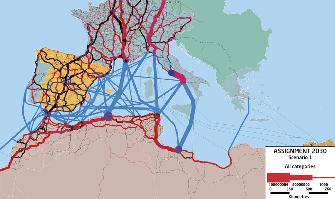 Traffic forecast model for the fixed link through the Strait of Gibraltar created with the TransCAD macro-simulation application.