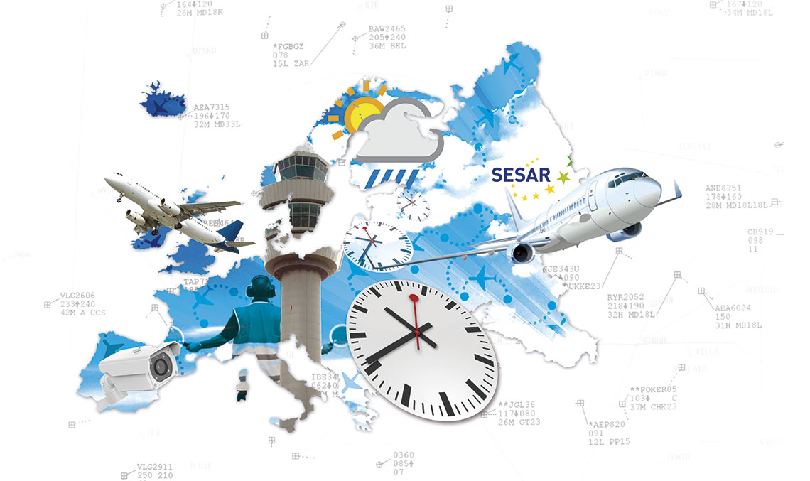 PRIORITY MEASURES. The EU considers it a priority to improve European airspace management by increasing the safety and number of operations and reducing the costs and environmental impact associated to each flight. / ILLUSTRATION_ANA LAGO